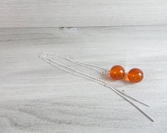 Threader Earrings. Modern Earrings. Silver Chain Earrings. Treat Yourself. Orange Stone Earrings. Minimalist Silver Earrings. Gift Her