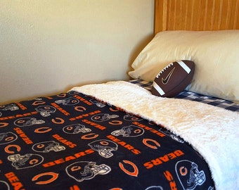 Chicago Bears Football Fan Adult Minky and Fleece Blanket Bedding Gift Dad Husband Green Bay Packers Seahawks Steelers Colts Broncos