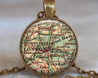 London map pendant, London pendant map jewelry travel gift travel memento gift for traveler London key chain key ring key fob keychain