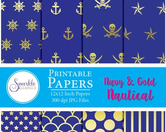 Navy & Gold Nautical Digital Paper, Nautical, Digital Scrapbook Paper, Printable Scrapbook Paper, Colorful Scrapbook Paper, Commercial Use