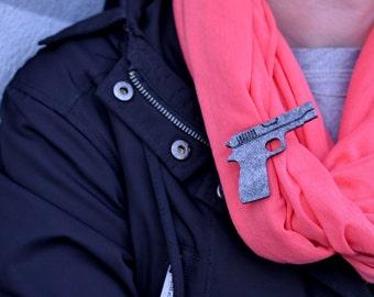 Felt grey pink pistol shape pistol