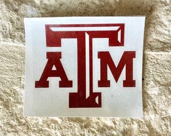 Texas A&M Decal, TAMU Decal, Aggie Sticker, Vinyl Decal, Yeti decal, Car Decal, Wall Decal, Monogram Decal