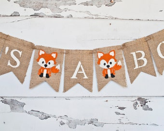 Woodland Baby Shower Decorations, Woodland Baby Shower Banner, Fox It's A Boy Banner, Fox Banner, Woodland Gender Reveal Banner, B266
