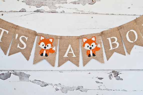 Its A Boy Banner Fox Banner Fox Baby Shower Banner
