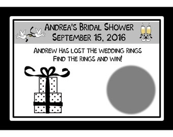60 Personalized Bridal Shower Scratch Off Game Cards - Black and White Gift Design