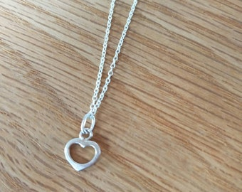 Sterling Silver Heart Necklace /Sterling Silver Necklace/Heart Necklace/Mothers Day Gift/Sterling Heart Necklace/
