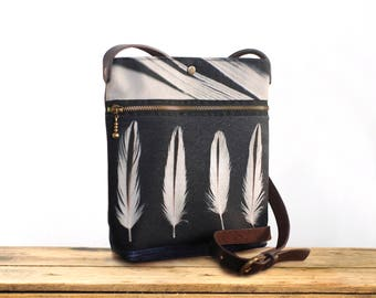 White feathers shoulder bag, handbag pouch, black and white feather zipper clutch purse, OYSTERCATCHER