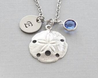 Sand dollar Necklace, Beach Lover, Ocean, Seashell, Nautical, Swarovski Birthstone, Silver Initial, Personalized, Monogram, Hand Stamped