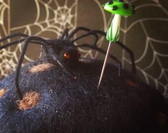 Scary Cute Green Ooz Halloween Mushroom Pin Topper
