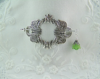 Shawl Pin, Scarf Pin, Sweater Pin, Celtic Pin, Large Shawl Pin, Flower Stick Pin, Silver Filigree Scarf Pin, Silver Pin, Pin