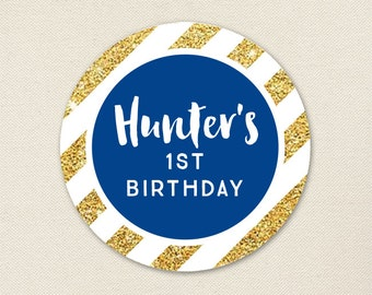 Gold and Blue Birthday Stickers - Sheet of 12 or 24