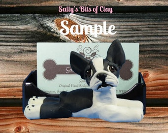 black and white Boston Terrier Dog Business Card /Cell Phone / Post It Notes Holder OOAK Sculpture by Sally's Bits of Clay