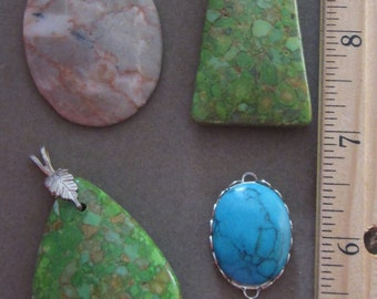 4 Stone Pendants Nice Lot Nosaic Turquoise, Red Line Marble