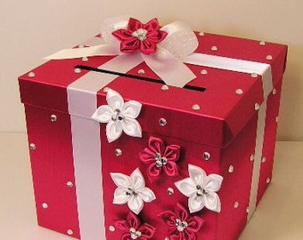 Wedding Card Box Fuchsia /watermelon and White Gift Card Box Money Box Holder-Customize your color