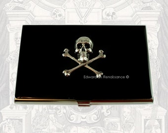 Skull and Cross Bones Business Card Holder Inlaid in Hand Painted Enamel Steampunk Metal Wallet Gothic Design Personalized Options
