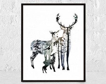 Stag Deer Wall Art Print Deer Print Deer Antlers Stag Print Animal Print nursery animal wall art nursery animal prints