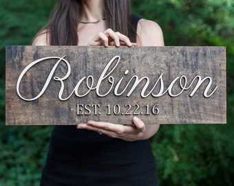 Family Name Sign | 3D | Wedding Established Sign  | Wedding Last Name Sign | Wedding Family Name Sign | Wedding Name Sign | EST Sign