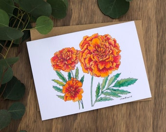 Marigolds Watercolor & Ink
