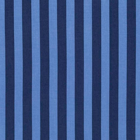 "FQ TENT STRIPE Blue Tula Pink Tabby Road Multiple units cut as one length Fq = 18"" x 22"" each"
