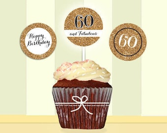 60th birthday, Gold Glitter, 60th birthday cupcake toppers, toppers, 2 inch cupcake toppers, Printable cupcake toppers, 60 and fabulous