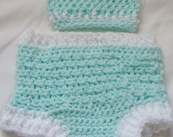 Crochet Diaper Cover and Hat