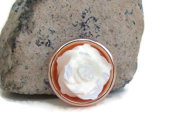 MINI 12 mm., rose tone and white shell flower,noosa style snap charm button for snap button jewelry, like ginger snaps and magnolia and vine