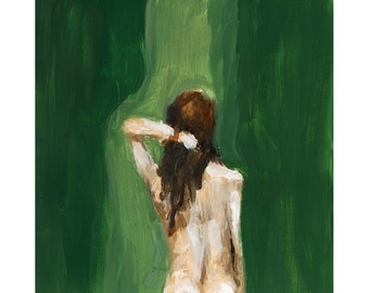Nude Figure Painting Art Print, Forest Green, Nude Back, Holding Hair, Wall Art, Large Wall Art