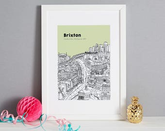 Personalised Brixton Print | Brixton Art | House Warming Gift | First Anniversary Gift | Framed Print | Unique Wedding Gift | London Print