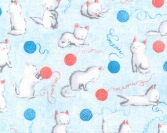 Robert Kaufman - Flannel - Cuddly Kittens Blue on Flannel