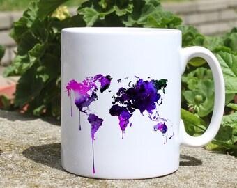 Continental map mug - Map mug - Colorful printed mug - Tee mug - Coffee Mug - Gift Idea