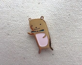Teddy Bear Enamel Pin / Bear lapel enamel pin / Gold Bear Pin
