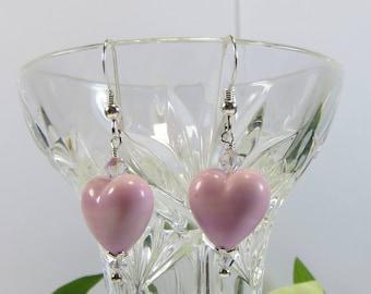 Murano Venetian Soft Pink Heart Earrings w Sterling Silver, Pink Murano Venetian Glass Love Heart Earrings w Swarovski AB & 925 Silver