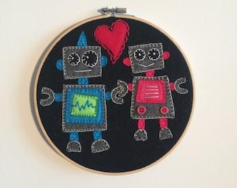 Felt Robot, Love, Friendship, Embroidery Hoop, Hand Embroidery, Valentines Day, Kids Room, Wall Decor, Nursery, Heart, Hand-sewn, Cute, Art,