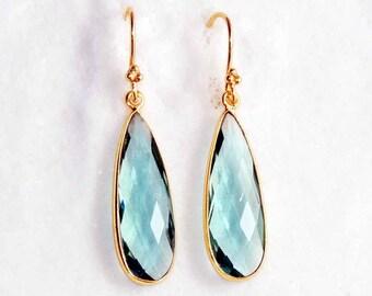 Blue quartz sterling silver gold plated handmade dangle earring