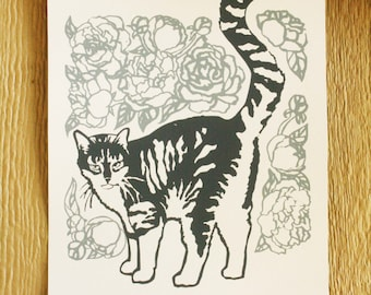 Cat Amongst Peonies, hand-pulled screen print