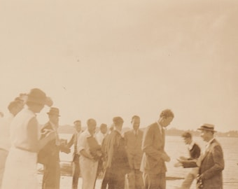 Regatta Crowd / Vintage Maritime Photo / Cruise Ship Passengers / Antique Sepia Photograph / high society / Seafaring / Nostalgic Snapshot