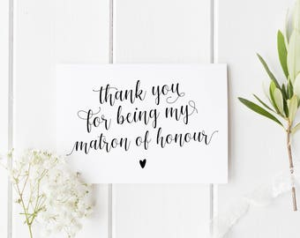 Thank You Matron Of Honour Card, Wedding Thank You Card, Matron Of Honor Card, Calligraphy Matron Of Honour Card, Best Friend Wedding Card