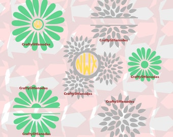 Spring Flowers Monogram/Split SVG STUDIO Ai EPS  Instant download Cricut Explore Silhouette Cameo Files For cutting machines commercial use
