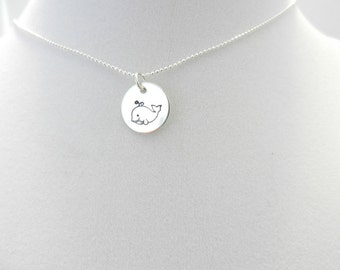 Whale Hand stamped on Sterling Charm with a Sterling silver bead chain