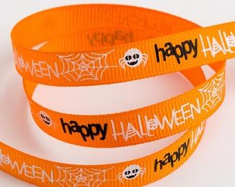 Happy Halloween Spider Web Grosgrain 9mm Ribbon Craft Sewing Lanyard Toys