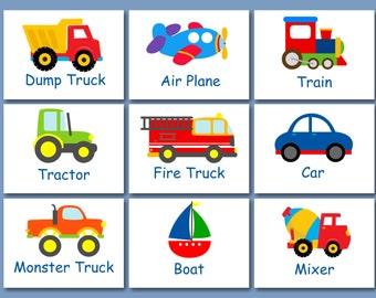 Transportation Wall Art,Transportation Nursery Wall Art,Transportation Decor,Construction Cars Planes Train Fire Truck-PICK YOUR PRINTS C307