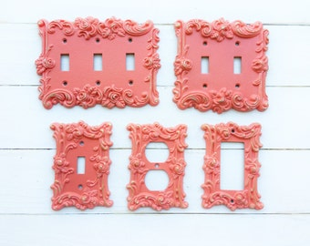 Decorative Plates, In Florida Coral Switch Cover, Lightswitch Cover, Light Switch Cover Plates,Shabby Chic,Custom Light Switch Cover