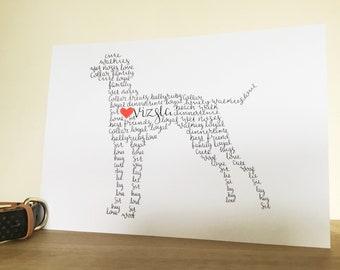 A4 Vizsla Personalised Wall Art, vizsla gift, vizsla, vizsla owner, vizsla home decor, vizsla dog, vizsla art, vizsla drawing, vizsla dogs