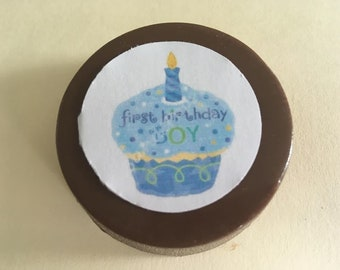 "24 ""First Birthday"" Chocolate Printed Edible lollipops"