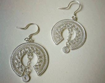 Folk-custom Hand made Sterling Silver Geometric Circle Earrings