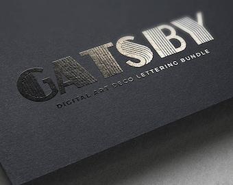 Digital Alphabet Gatsby Art Deco Scrapbook Elements & PSD
