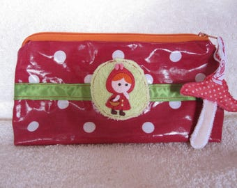 Kit average little Red Riding Hood red coated cotton with polka dots