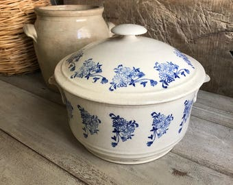 French Soupière Tureen, Lid, Faience, Ironstone, Stoneware Pottery, Blue Floral Transferware, Fainance