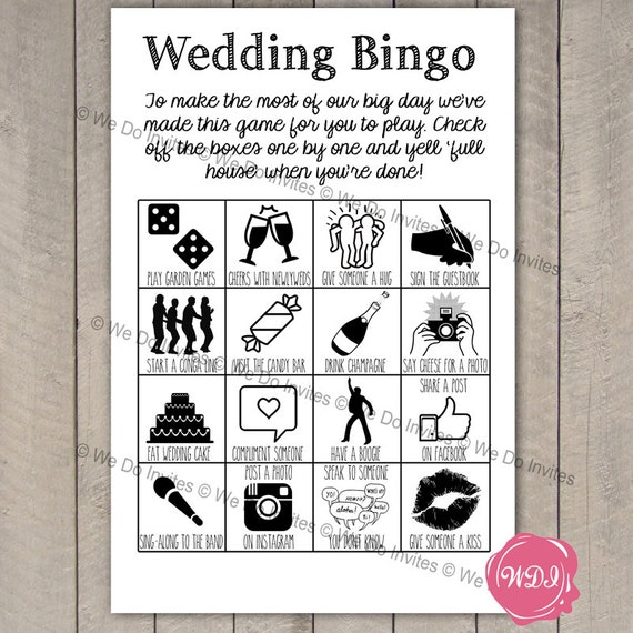 Wedding Bingo Game Ice Breaker Printable Wedding Favour