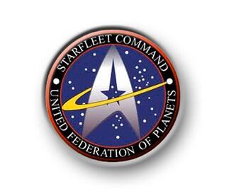 "STAR TREK / 1"" / 25mm pin button / badge / USS Enterprise / Next Generation / Deep Space 9 / Klingons / Trekkie / Borg / Romulans / Film"